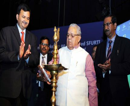 The Union Minister for Micro, Small and Medium Enterprises, Shri Kalraj Mishra lighting the lamp to inaugurate the National Level Workshop on Revamped SFURTI